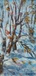 Първи сняг (2019). Маслени бои върху платно. Размери 27 /14см   (налична)