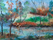 Пейзаж с река (2019). Маслени бои върху платно. Размери 40/59,5 см   (налична)