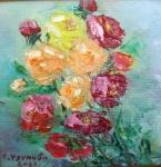 С дъх на рози  (2021). Маслени бои върху платно., каширано на фазер. Размери 10/10см  (не е в наличност)
