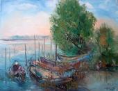 Дунавски лодки  (2021). Маслени бои върху платно.  Размери 40/50 см   (налична)