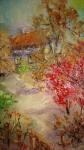 Къща в гората   (2021). Маслени бои върху платно., каширано на фазер. Размери 15/10см   (не е в наличност)