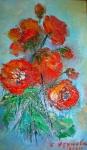 Огнени цветя   (2021). Маслени бои върху платно., каширано на фазер. Размери 15/10см   (налична)