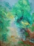 Планинска пътека (2019). Маслени бои върху платно, каширано на фазер.  Размери 20 /15см   (налична)